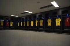 Brazil Team Shirts Locker Room Maracana Stadium. RIO DE JANEIRO, BRAZIL - JANUARY 29, 2014: Brazil football team shirts lining the player locker room at Maracana Stock Photography