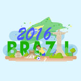 Brazil with 2016 text Royalty Free Stock Photo