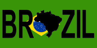 Brazil text with map stock illustration
