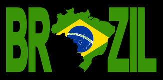 Brazil text with map Royalty Free Stock Photography