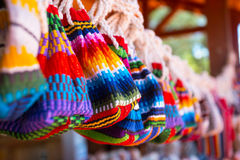 Brazil textiles. Souvenir - bags, friendship bracelet, brasil Royalty Free Stock Photos