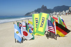 Brazil Tickets World Flags on the Beach Rio Stock Photo