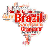 Brazil top travel destinations word cloud Royalty Free Stock Image