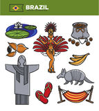 Brazil tourism travel landmarks and famous sightseeing vector icons set Royalty Free Stock Photography