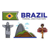 Brazil travel attractions and famous culture landmarks vector icons set. Brazil travel landmarks and tourist attraction symbols set. . Brazilian flag, Christ Stock Photos