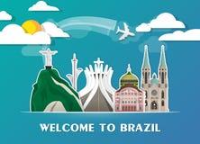 Brazil travel background Landmark Global Travel And Journey Info. Graphic Vector Design Template. illustration Royalty Free Stock Photo