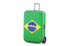 Brazil travel concept, suitcase with Brazilian flag. 3D renderin. Brazil travel concept, suitcase with Brazilian flag. 3D Stock Image