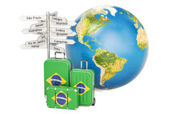Brazil travel concept. Suitcases with Brazilian flag, signpost a. Nd Earth globe. 3D Royalty Free Stock Photo