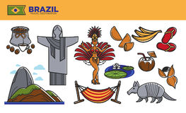 Brazil travel destination promotional poster with country symbols Royalty Free Stock Photography
