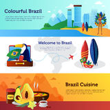 Brazil Travel Flat Horizontal Banners Set Stock Images