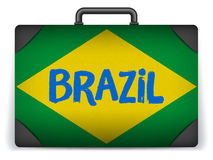 Brazil Travel Luggage with Flag for Vacation Royalty Free Stock Images