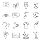 Brazil travel symbols icons set, outline style Royalty Free Stock Photography