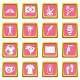 Brazil travel symbols icons pink Royalty Free Stock Photo