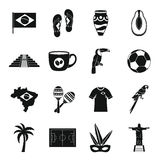 Brazil travel symbols icons set, simple style Royalty Free Stock Photos