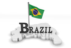 Brazil tribute. 3D rendered scene with flag and logo Royalty Free Stock Photography