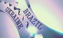 Brazil Ukraine - Message on Mechanism of Metallic Gears. 3D. Royalty Free Stock Photo