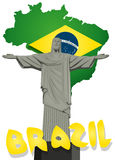 Brazil vector with Christ the redeemer statue Stock Photo