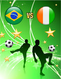 Brazil versus Ivory Coast on Abstract Green Stars Background Stock Images
