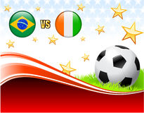 Brazil versus Ivory Coast on Abstract Red Background with Stars. 