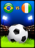 Brazil versus Ivory Coast on Soccer Stadium Event Background Royalty Free Stock Image