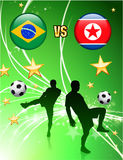 Brazil versus North Korea on Abstract Green Stars Background Stock Image