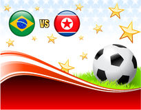 Brazil versus North Korea on Abstract Red Background with Stars. 