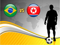 Brazil versus North Korea on Abstract World Map Background Royalty Free Stock Images