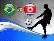 Brazil versus North Korea on Blue Abstract World Map Background Royalty Free Stock Images