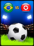 Brazil versus North Korea on Soccer Stadium Event Background Royalty Free Stock Image
