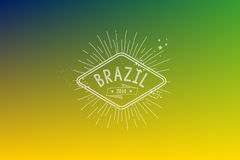 Brazil 2014 vintage label blurred background. Brazil 2014 retro label design over blurred background. EPS10 vector file organized in layers for easy editing Stock Images