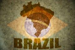 Brazil vintage map. Brazil map on a vintage brazilian flag background stock photos