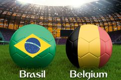 Brazil vs Belgium football team ball on big stadium background. Brazil vs Belgium Team competition concept flag on ball team tourn. Ament. Sport competition on Royalty Free Stock Photo