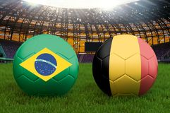 Brazil vs Belgium football team ball on big stadium background. Brazil vs Belgium Team competition concept flag on ball team tourn. Ament. Sport competition on Stock Photos