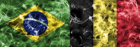 Brazil vs Belgium smoke flag, quarter finals, football world cup 2018, Moscow, Russia.  royalty free stock image