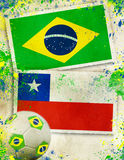 Brazil vs Chile football match concept Stock Images