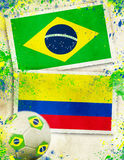 Brazil vs Colombia footballl concept Stock Image