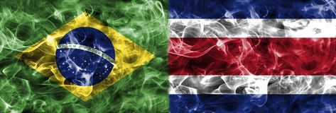 Brazil vs Costa Rica smoke flag, group E, Fifa football world cu. P 2018, Moscow, Russia Stock Photography