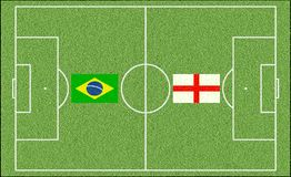 Brazil vs. England in football Stock Image