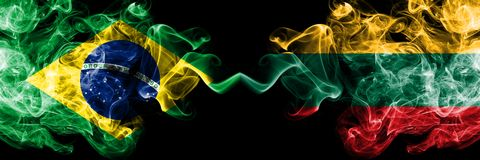Brazil vs Lithuania, Lithuanian smoke flags placed side by side. Thick colored silky smoke flags of Brazilian and Lithuania,. Lithuanian vector illustration