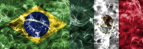 Brazil vs Mexico smoke flag, quarter finals, football world cup 2018, Moscow, Russia.  stock photo
