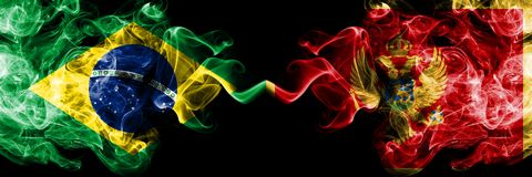 Brazil vs Montenegro, Montenegrin smoke flags placed side by side. Thick colored silky smoke flags of Brazilian and Montenegro,. Montenegrin vector illustration