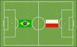 Brazil vs. Poland in football Stock Photo