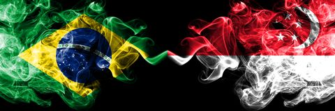 Brazil vs Singapore, Singaporean smoke flags placed side by side. Thick colored silky smoke flags of Brazilian and Singapore,. Singaporean vector illustration