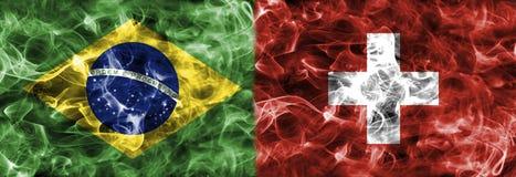 Brazil vs Switzerland smoke flag, group E, Fifa football world c. Up 2018, Moscow, Russia Stock Photos