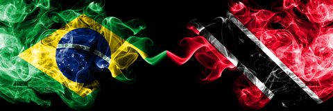 Brazil vs Trinidad and Tobago smoke flags placed side by side. Thick colored silky smoke flags of Brazilian and Trinidad and. Tobago vector illustration