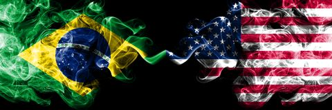Brazil vs United States of America, American smoke flags placed side by side. Thick colored silky smoke flags of Brazilian and vector illustration