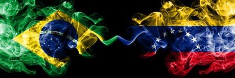 Brazil vs Venezuela, Venezuelan smoke flags placed side by side. Thick colored silky smoke flags of Brazilian and Venezuela,. Venezuelan stock illustration