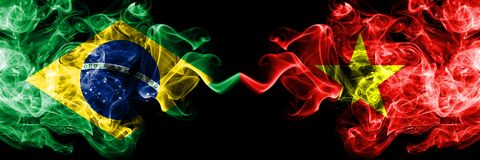 Brazil vs Vietnam, Vietnamese smoke flags placed side by side. Thick colored silky smoke flags of Brazilian and Vietnam,. Vietnamese vector illustration