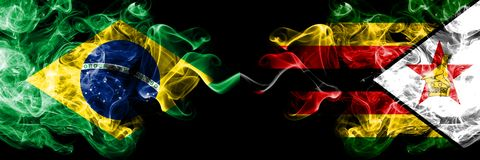 Brazil vs Zimbabwe, Zimbabwean smoke flags placed side by side. Thick colored silky smoke flags of Brazilian and Zimbabwe,. Zimbabwean stock illustration