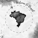 Brazil watercolor map in black colors. Royalty Free Stock Photo